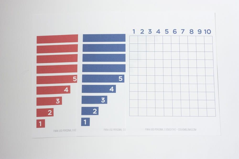 Imprimible / Los amigos del 10 (Tabla de sumas montessori)