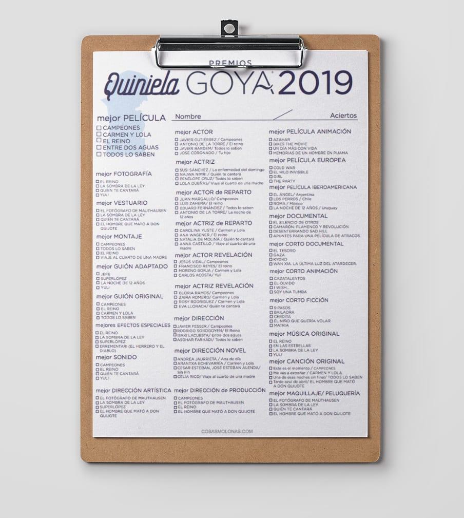 Descarga la quiniela de los Goya 2019