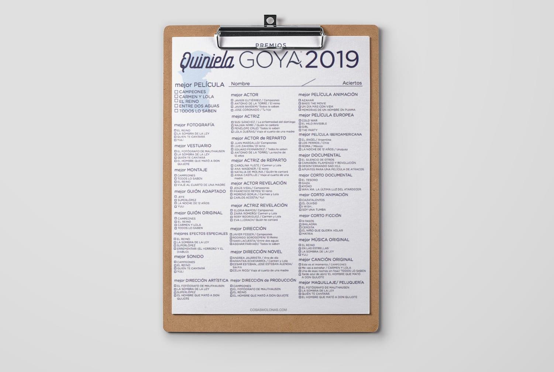 Imprimible / Quiniela de los Premios Goya 2019