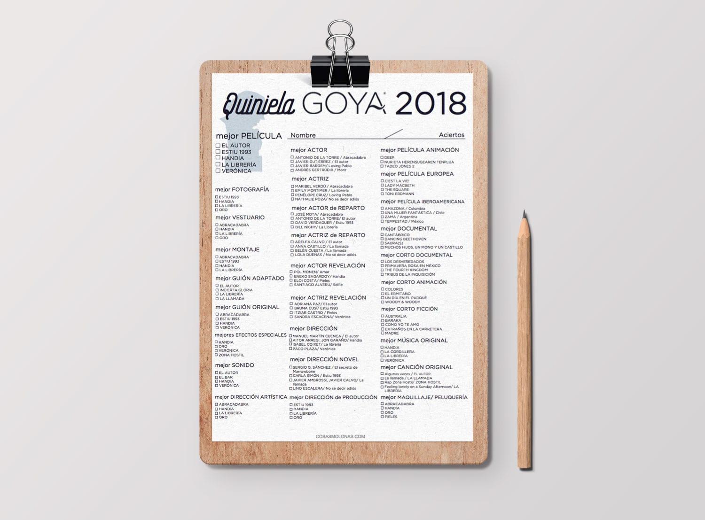 Imprimible / Quiniela de los Premios Goya 2018 | Cosas Molonas | DIY ...