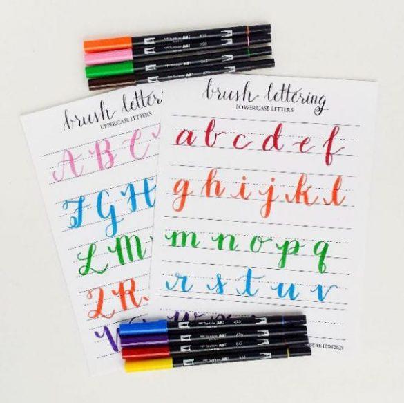 lettering con pinceles