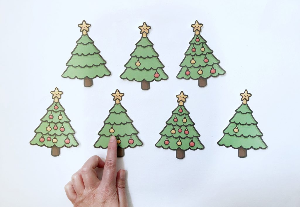 Imprimible para aprender a contar del 1 al 10 versión navideña.