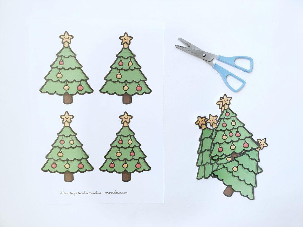 Manualidad infantil Navidad: imprimible para aprender a contar.