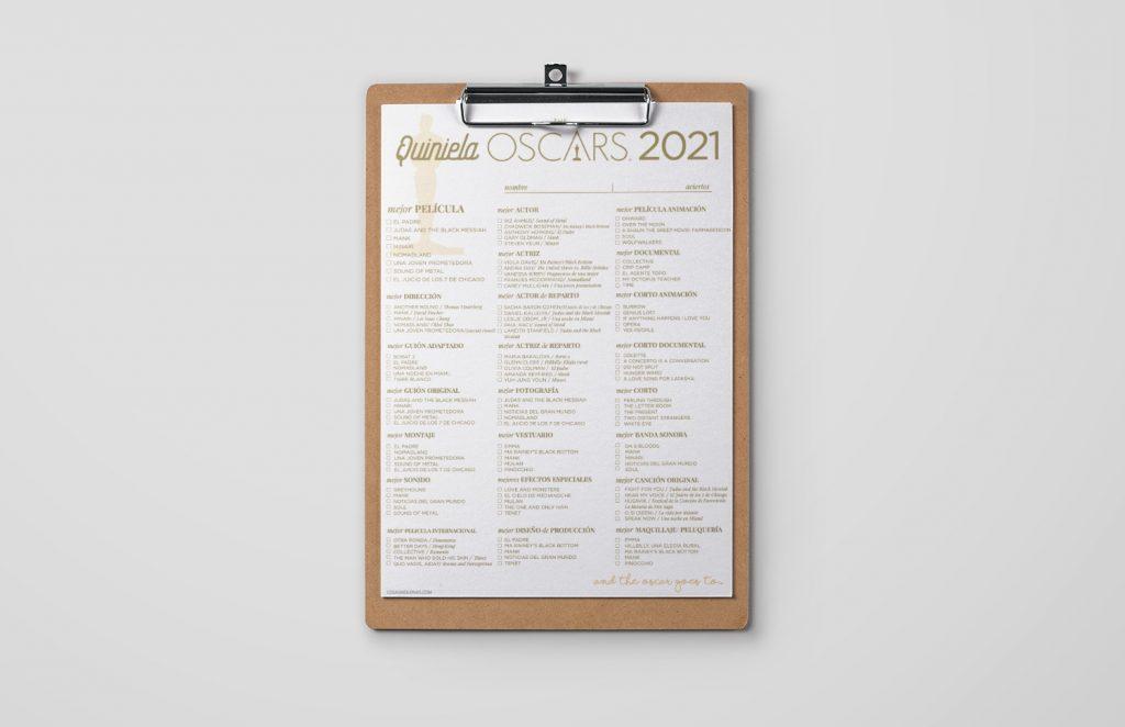 Quiniela Oscars 2021 imprimible